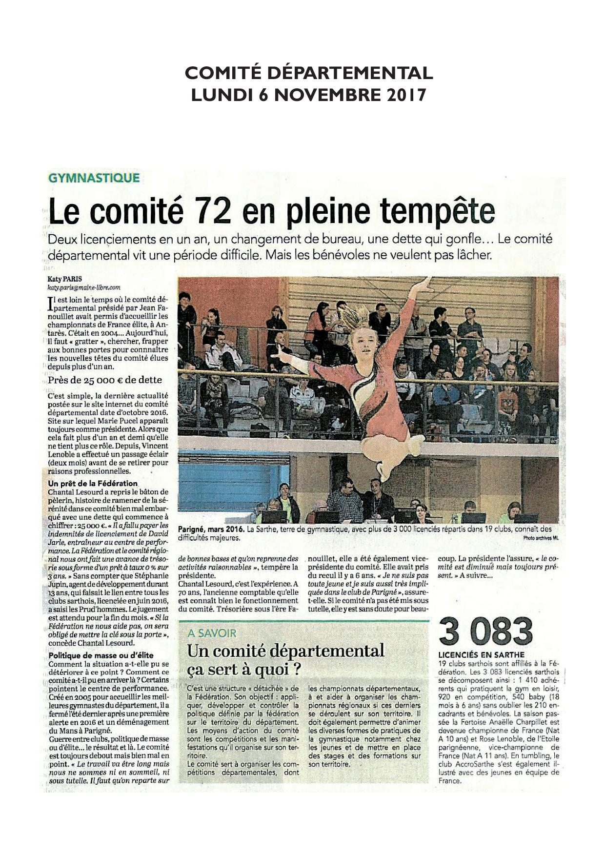 Article Comite Departemental